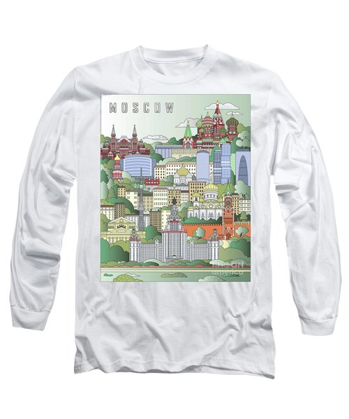 Moscow City Poster Long Sleeve T-Shirt by Pablo Romero