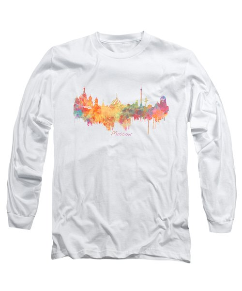 Moscow Russia Skyline City Long Sleeve T-Shirt by Justyna JBJart