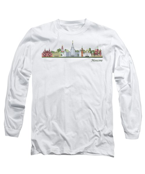 Moscow Skyline Colored Long Sleeve T-Shirt by Pablo Romero