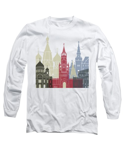 Moscow Skyline Poster Long Sleeve T-Shirt by Pablo Romero