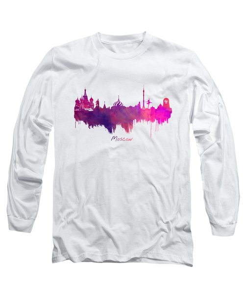 Moscow Skyline Purple Long Sleeve T-Shirt by Justyna JBJart