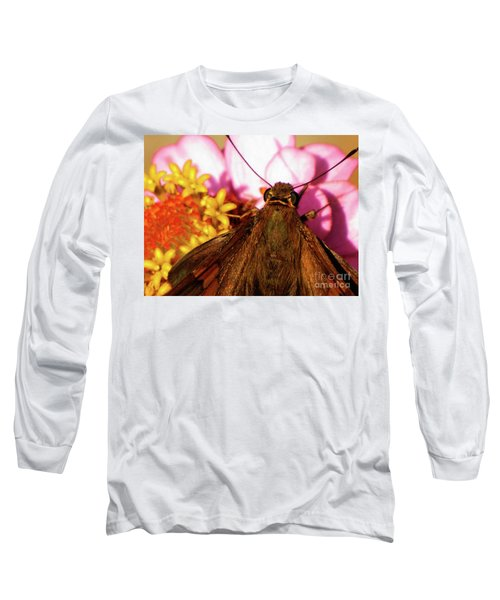 Moth On Pink And Yellow Flowers Long Sleeve T-Shirt
