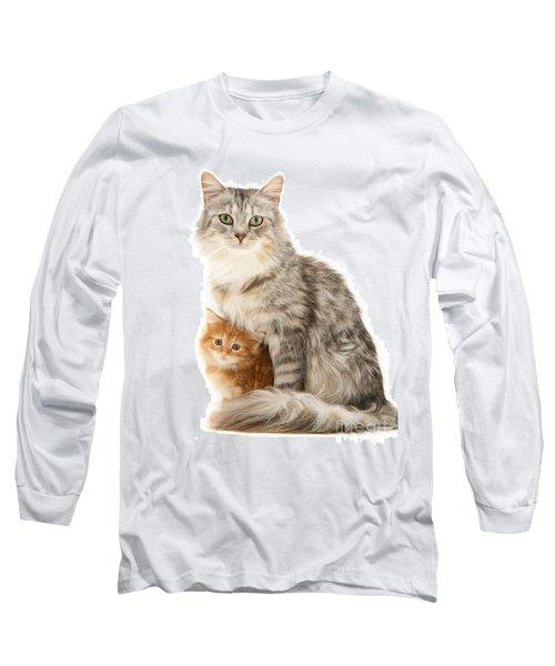 Mother Cat And Ginger Kitten Long Sleeve T-Shirt
