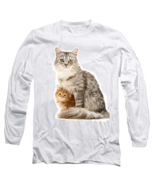 Mother Cat And Ginger Kitten Long Sleeve T-Shirt