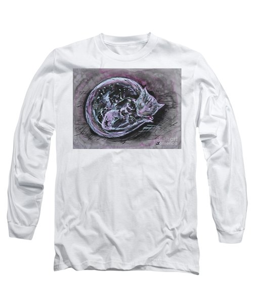 Long Sleeve T-Shirt featuring the painting Mother Cat With Kittens by Zaira Dzhaubaeva