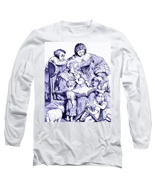 Long Sleeve T-Shirt featuring the painting Mother Goose Reading To Children by Marian Cates