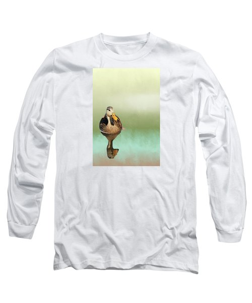 Mottled Duck Reflection Long Sleeve T-Shirt by Rosalie Scanlon