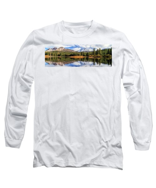 Long Sleeve T-Shirt featuring the photograph Mount Lassen Reflections Panorama by James Eddy