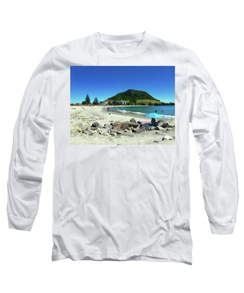 Long Sleeve T-Shirt featuring the photograph Mount Maunganui Beach 1 - Tauranga New Zealand by Selena Boron