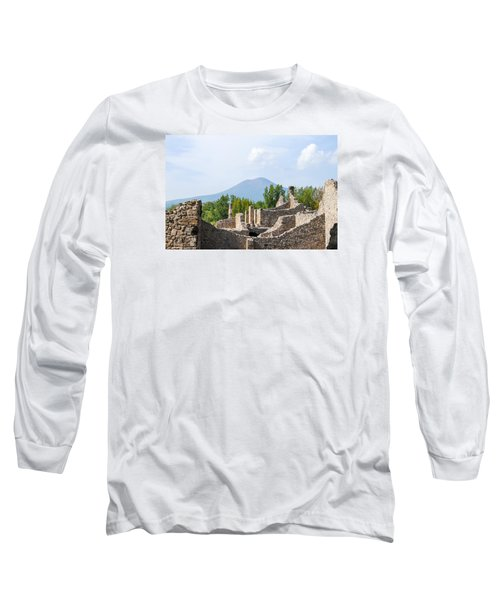 Mount Vesuvius Beyond The Ruins Of Pompei Long Sleeve T-Shirt by Allan Levin