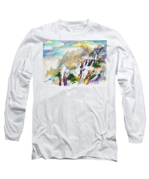 Mountain Awe #2 Long Sleeve T-Shirt by Betty M M Wong