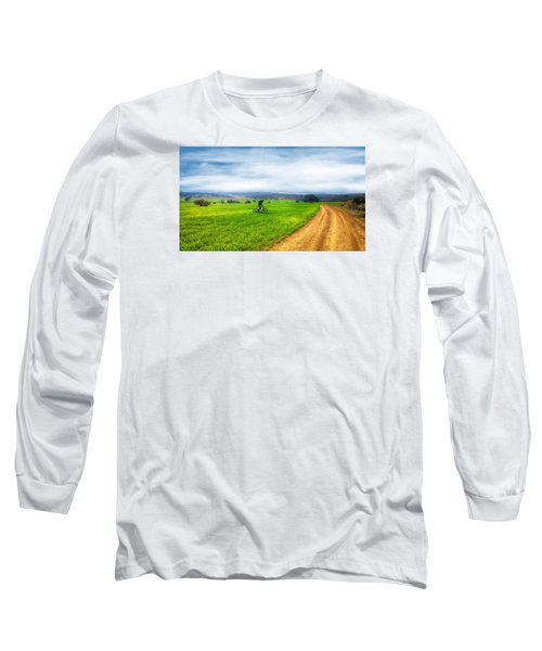 Mountain Biker Cycling Through Green Fields Long Sleeve T-Shirt