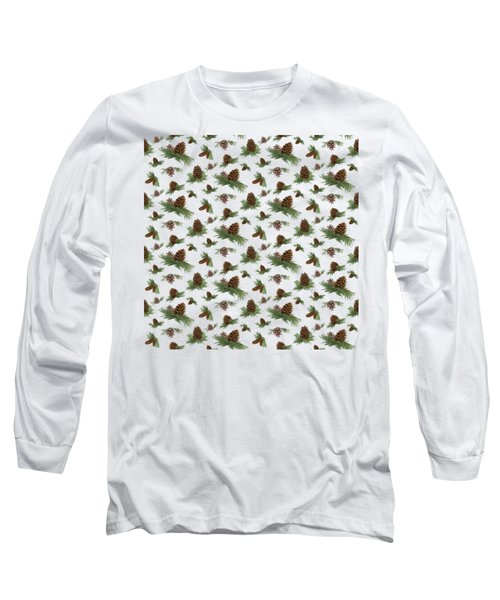 Mountain Lodge Cabin In The Forest - Home Decor Pine Cones Long Sleeve T-Shirt