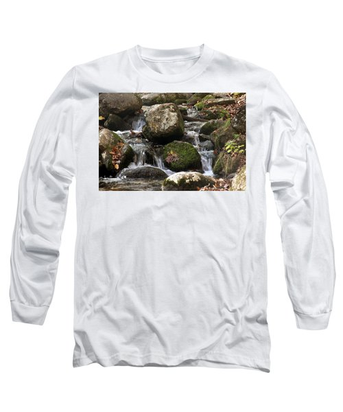 Long Sleeve T-Shirt featuring the photograph Mountain Stream Through Rocks by Emanuel Tanjala