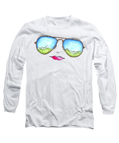 Mountain View Aviator Sunglasses Pop Art Painting Pink Lips Aroon Melane 2015 Collection Long Sleeve T-Shirt
