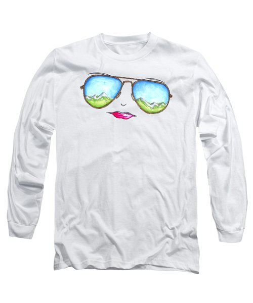 Mountain View Aviator Sunglasses Pop Art Painting Pink Lips Aroon Melane 2015 Collection Long Sleeve T-Shirt