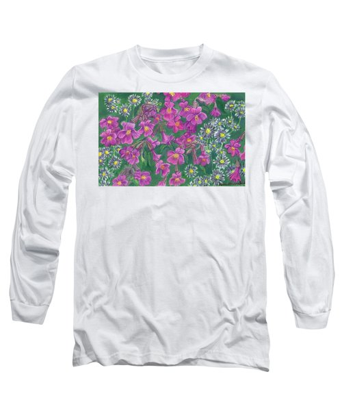 Long Sleeve T-Shirt featuring the drawing Mountain Wild Flowers by Dawn Senior-Trask