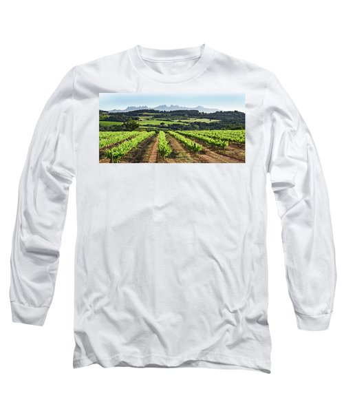 Long Sleeve T-Shirt featuring the mixed media Mountains Of Montserrat Catalunya by Gina Dsgn