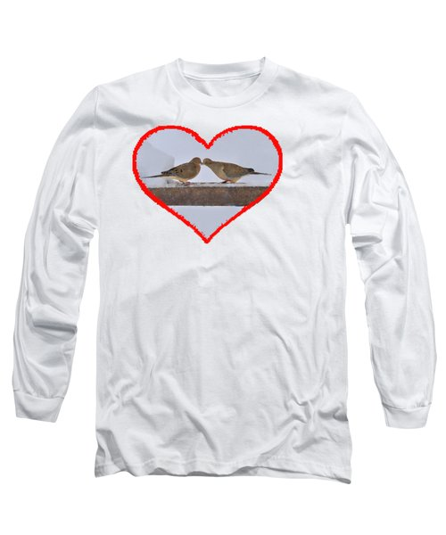 Mourning Doves Kissing Long Sleeve T-Shirt by Dan Friend