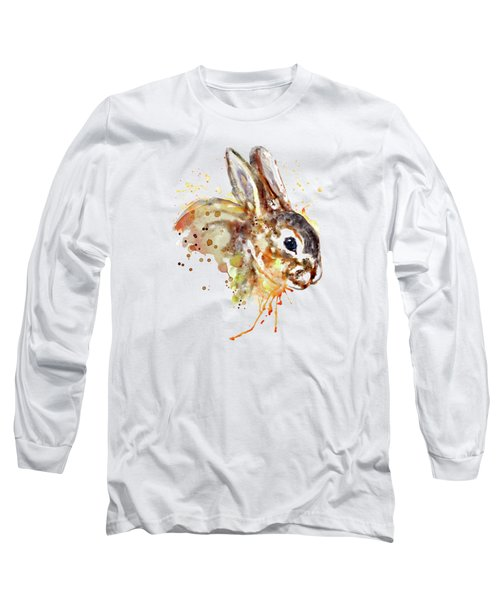Long Sleeve T-Shirt featuring the mixed media Mr. Bunny by Marian Voicu