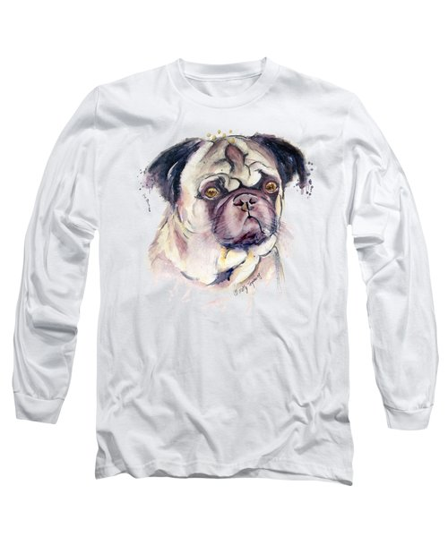 Mr Thinker Pug Watercolor Long Sleeve T-Shirt by Melly Terpening