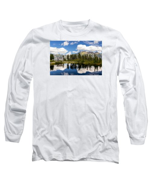 Long Sleeve T-Shirt featuring the photograph Mt Baker Lodge Reflection In Picture Lake 2 by Rob Green