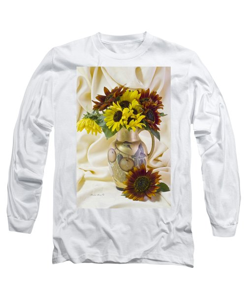 Multi Color Sunflowers Long Sleeve T-Shirt by Sandra Foster