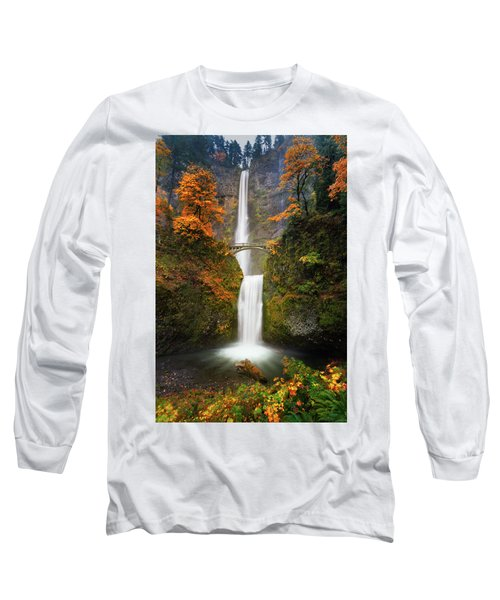 Multnomah Falls In Autumn Colors Long Sleeve T-Shirt