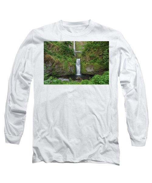 Multnomah Falls In Spring Long Sleeve T-Shirt by Greg Nyquist