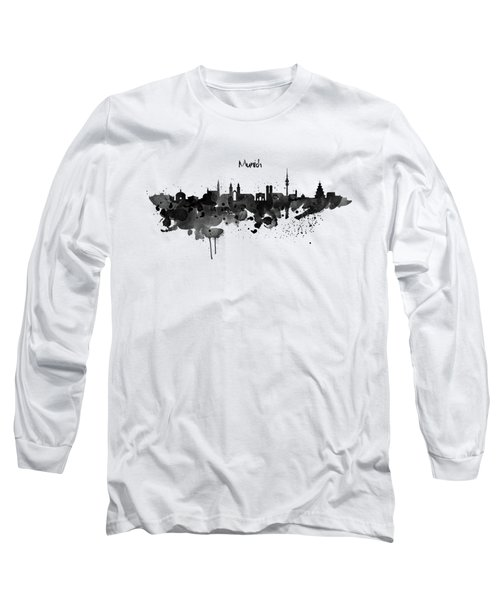 Munich Black And White Skyline Silhouette Long Sleeve T-Shirt by Marian Voicu