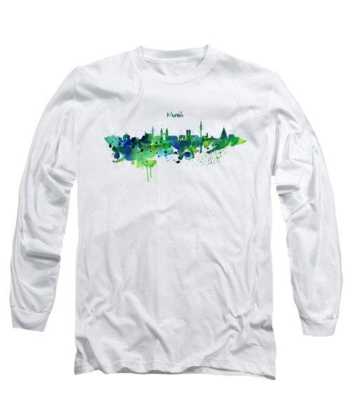 Munich Skyline Silhouette Long Sleeve T-Shirt by Marian Voicu