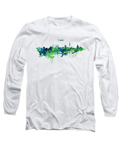 Munich Skyline Silhouette Long Sleeve T-Shirt