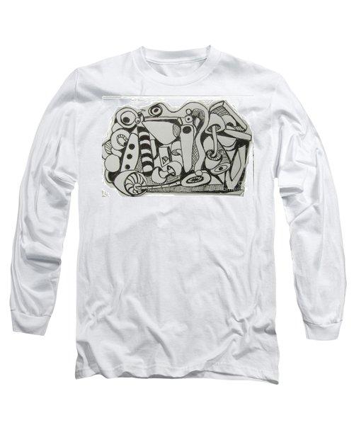 Long Sleeve T-Shirt featuring the drawing Mushroom Powered Engine 004 - Bellingham - Lewisham by Mudiama Kammoh