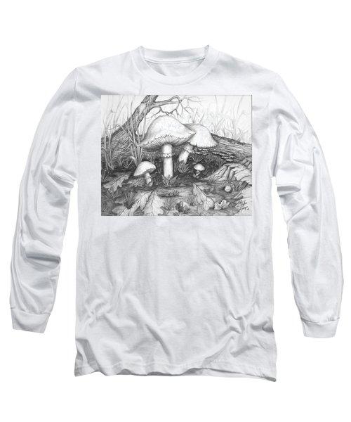 Mushrooms -pencil Study Long Sleeve T-Shirt