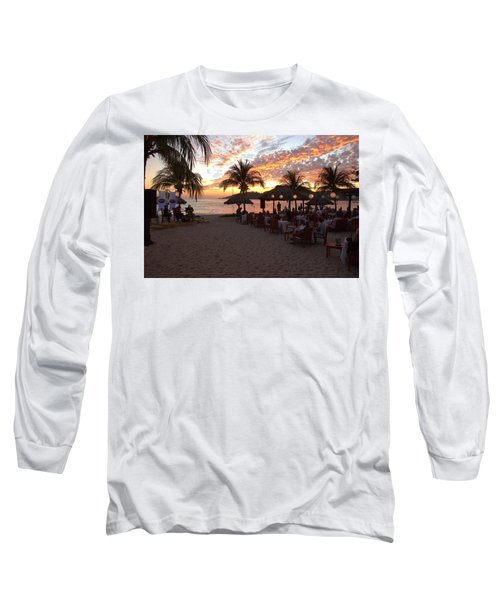 Long Sleeve T-Shirt featuring the photograph Music And Dining On The Beach by Jim Walls PhotoArtist