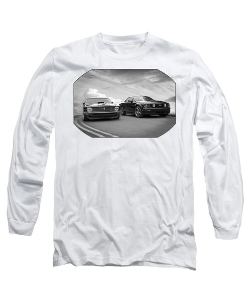 Mustang Buddies In Black And White Long Sleeve T-Shirt by Gill Billington