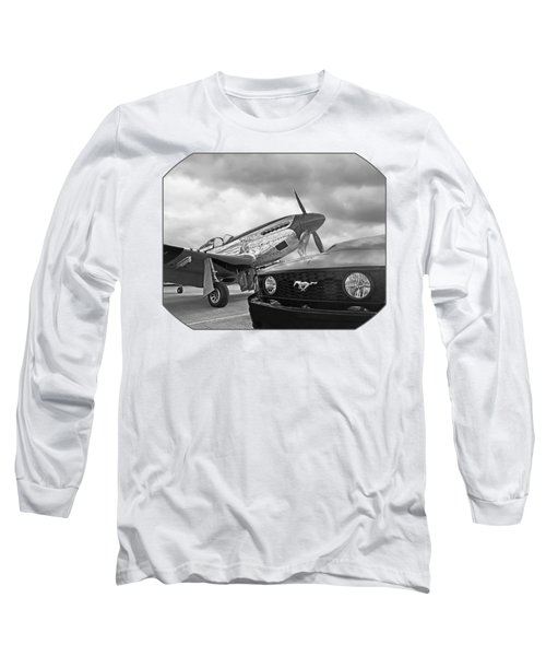 Mustang Gt With P51 Black And White Long Sleeve T-Shirt