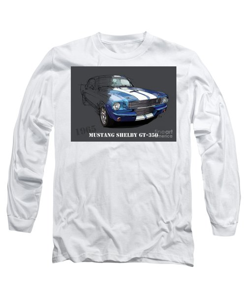 Mustang Shelby Gt-350, Blue And White Classic Car, Gift For Men Long Sleeve T-Shirt