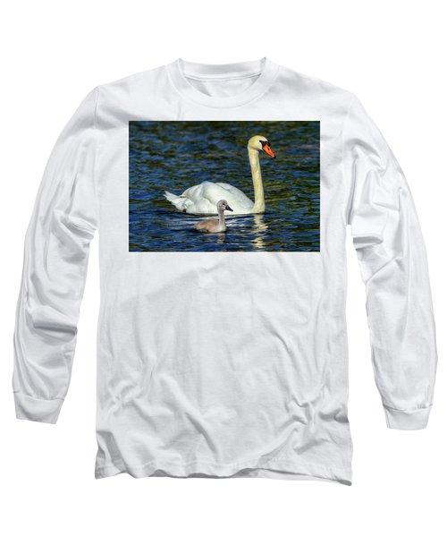 Mute Swan, Cygnus Olor, Mother And Baby Long Sleeve T-Shirt by Elenarts - Elena Duvernay photo