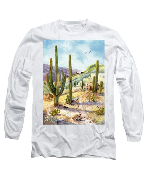 Long Sleeve T-Shirt featuring the painting My Adobe Hacienda by Marilyn Smith