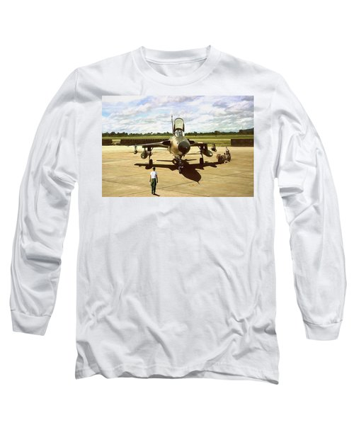 Long Sleeve T-Shirt featuring the digital art My Baby F-105 by Peter Chilelli