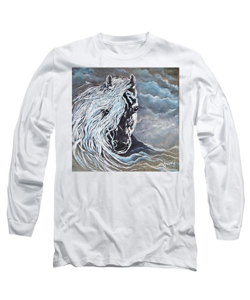 My White Dream Horse Long Sleeve T-Shirt by AmaS Art