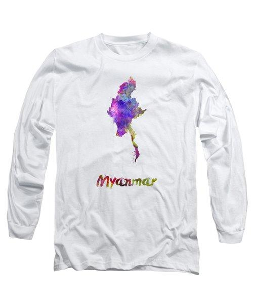 Myanmar In Watercolor Long Sleeve T-Shirt by Pablo Romero