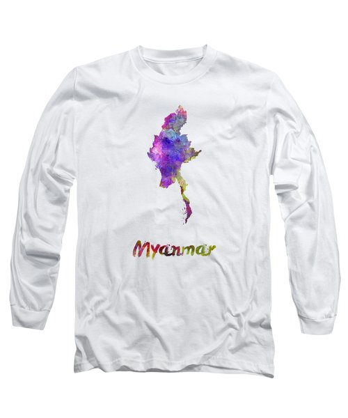 Myanmar In Watercolor Long Sleeve T-Shirt
