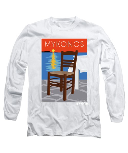 Mykonos Empty Chair - Orange Long Sleeve T-Shirt