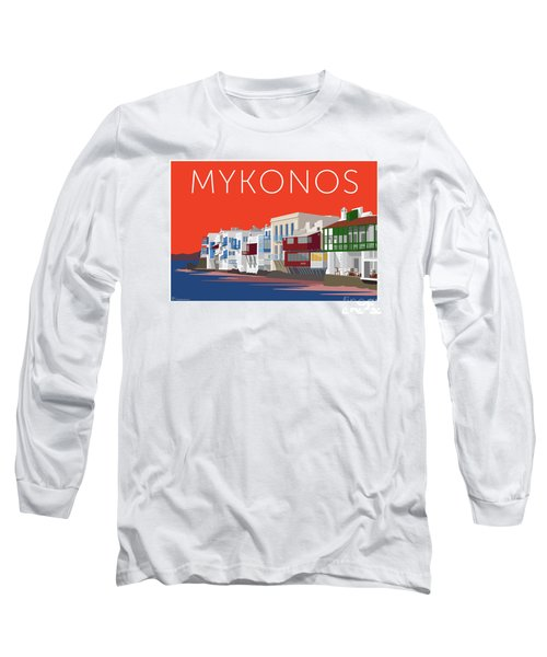 Mykonos Little Venice - Orange Long Sleeve T-Shirt