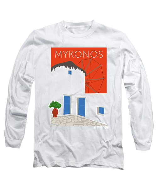 Mykonos Windmill - Orange Long Sleeve T-Shirt