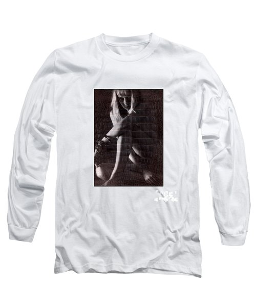 Naked Girl Hiding Long Sleeve T-Shirt by Michael Edwards