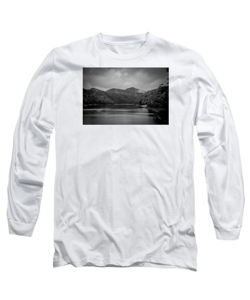 Long Sleeve T-Shirt featuring the photograph Nantahala River Great Smoky Mountains In Black And White by Kelly Hazel