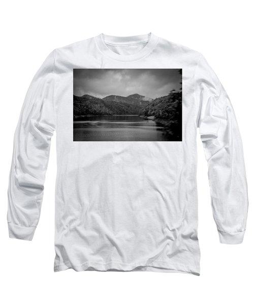Nantahala River Great Smoky Mountains In Black And White Long Sleeve T-Shirt